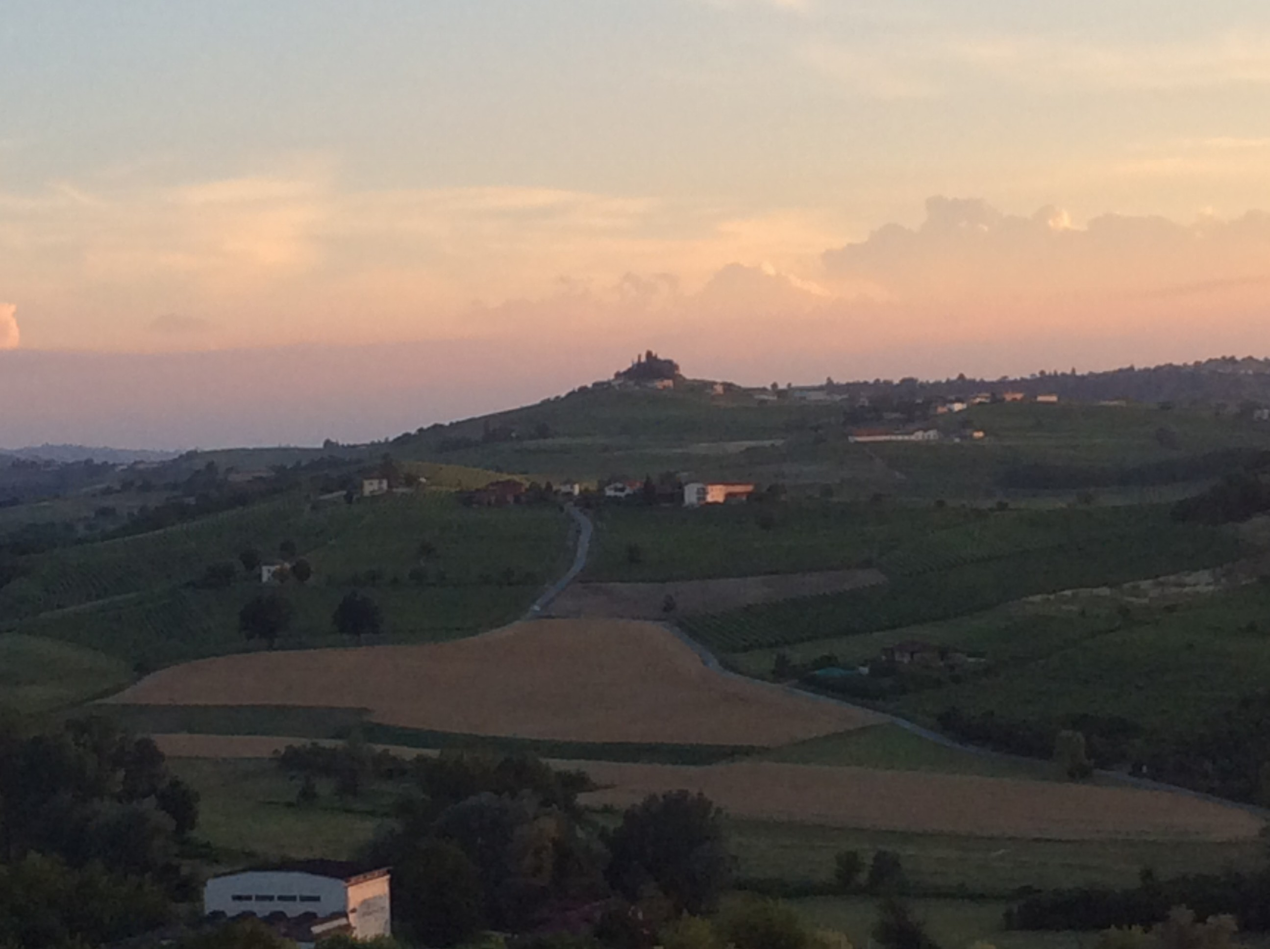 Our view of a nearby from the terrace where ate  dinner on our last night in Italy