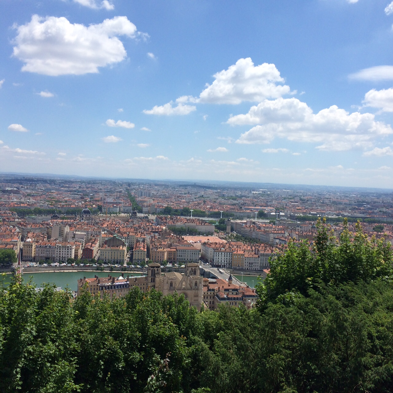 View of Lyon from the highest point outside Basillica in Lyon