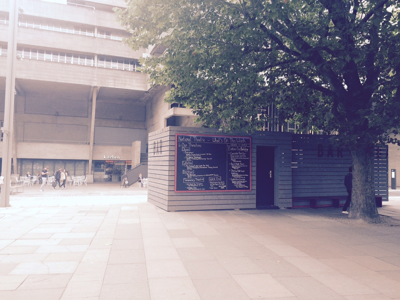 Outside the National Theatre.  Check out all the theatre in one location.  The South Bank has REALLY changed.