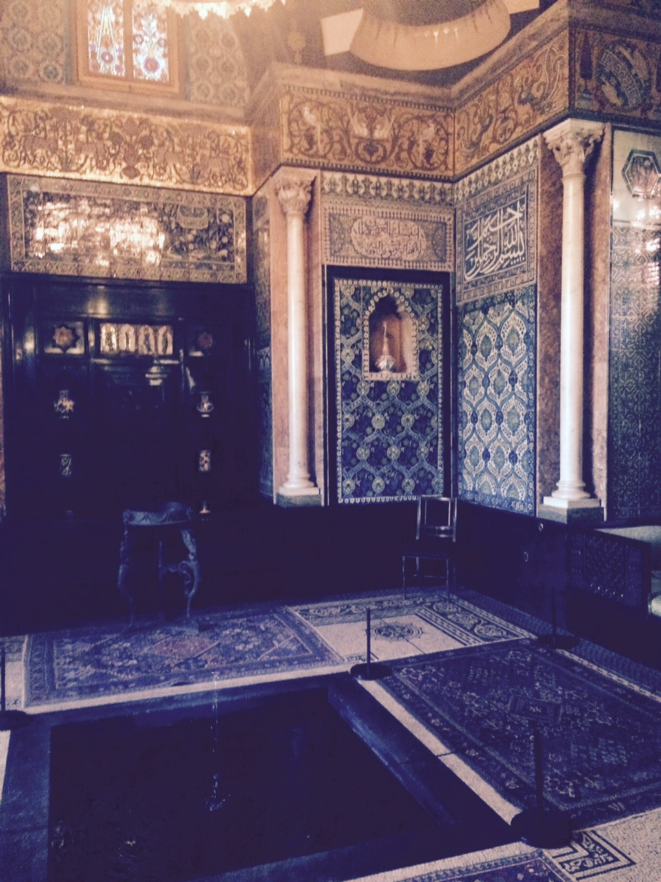 """Inside the Leighton House Museum, before they told me pictures weren't allowed.  Leighton's a celebrated English painter who bought this house and transformed it after a trip to Northern Africa.  EVERYTHING you see, minus area rugs, are tiles he sent back to England from North Africa.  Sadly the pictures, don't do it justice.  It was astonishing.  The colors and the patterns made from a gazillion tiles from little bitty ones, to what 4x4"""" tiles. It was like being in a  Moroccan road again. Nothing else in London looks like this even today.  And certainly a North African motif was not a trend in the 1700s.  He was a brilliant artist.  The staircase and the upstairs are lined with his drawings and paintings."""