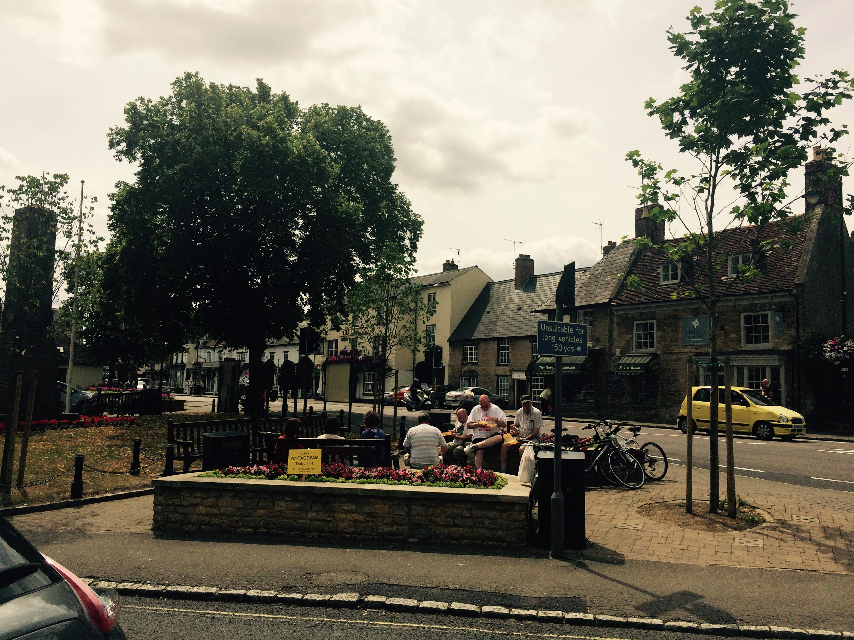 Square in the charming town of Olney on our visit with Nicky and Noel.