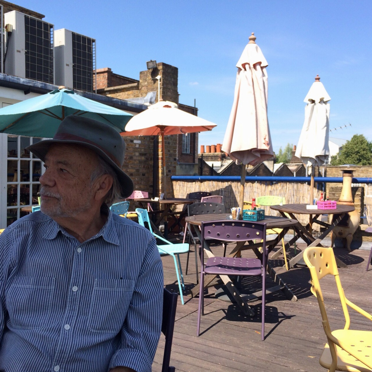 Rooftop cafe of cool antique mart in Lisson Grove