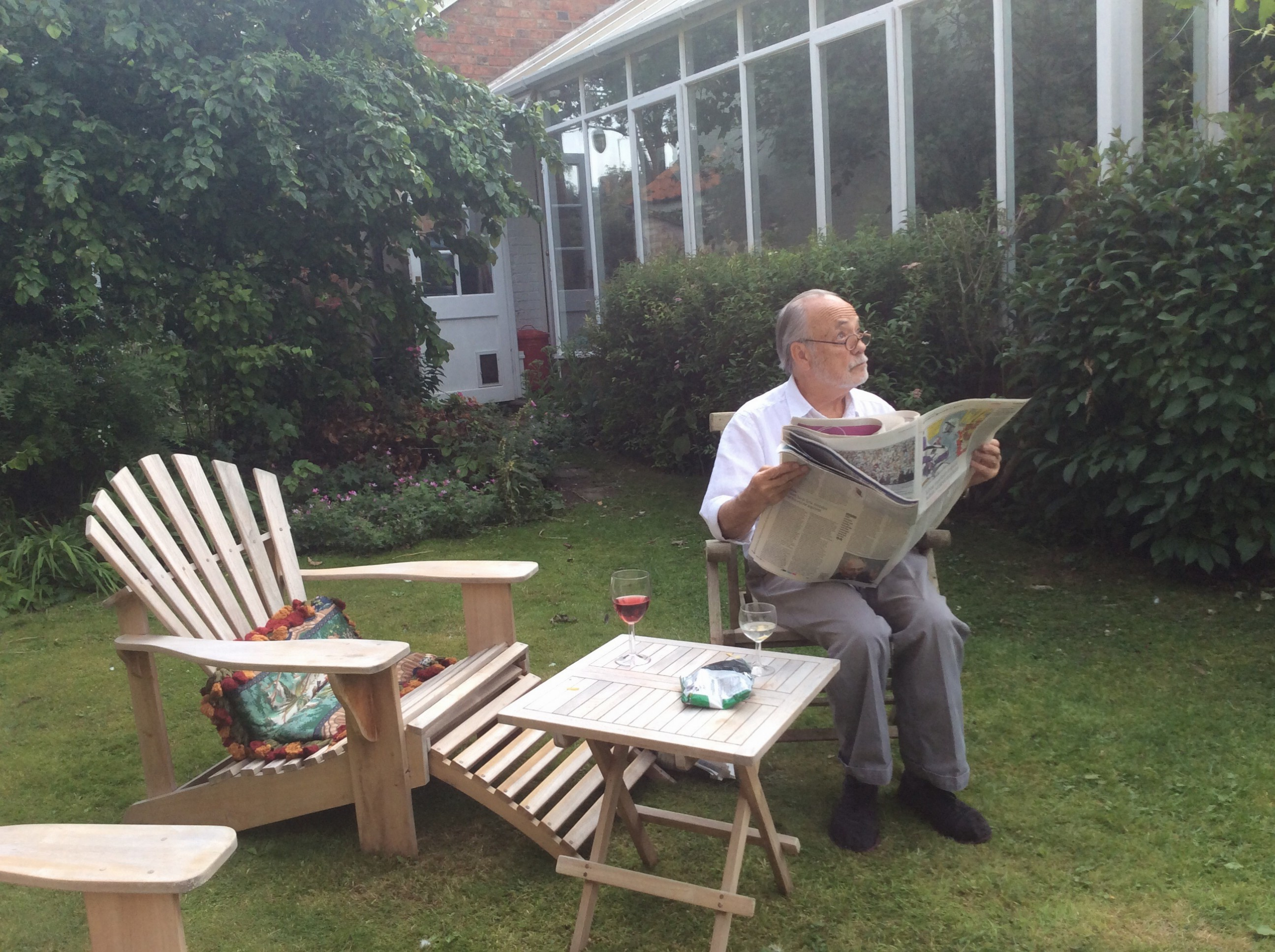 Jim consults the heavens while reading The Guardian