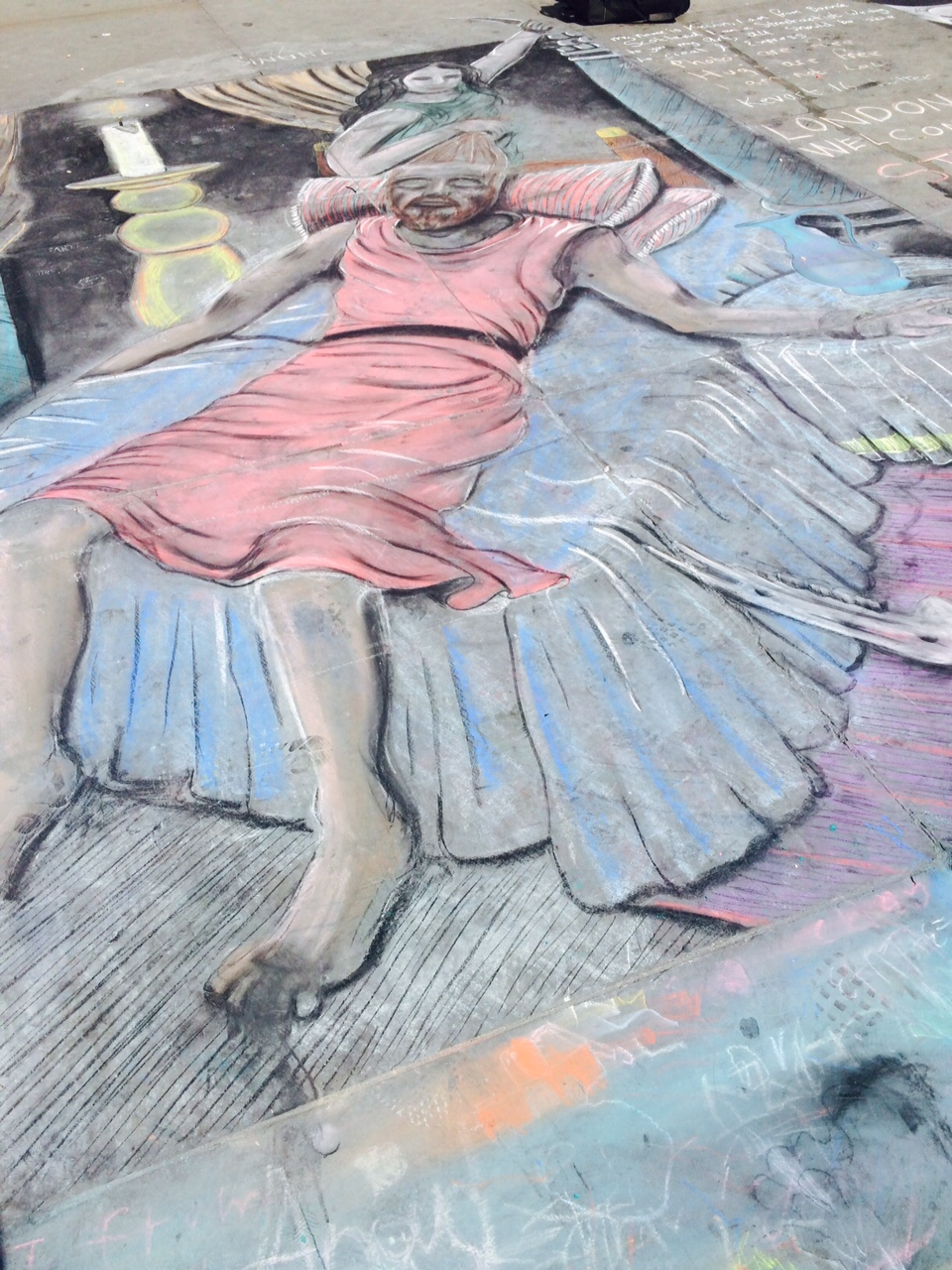 Street art by homeless man outside The National Gallery