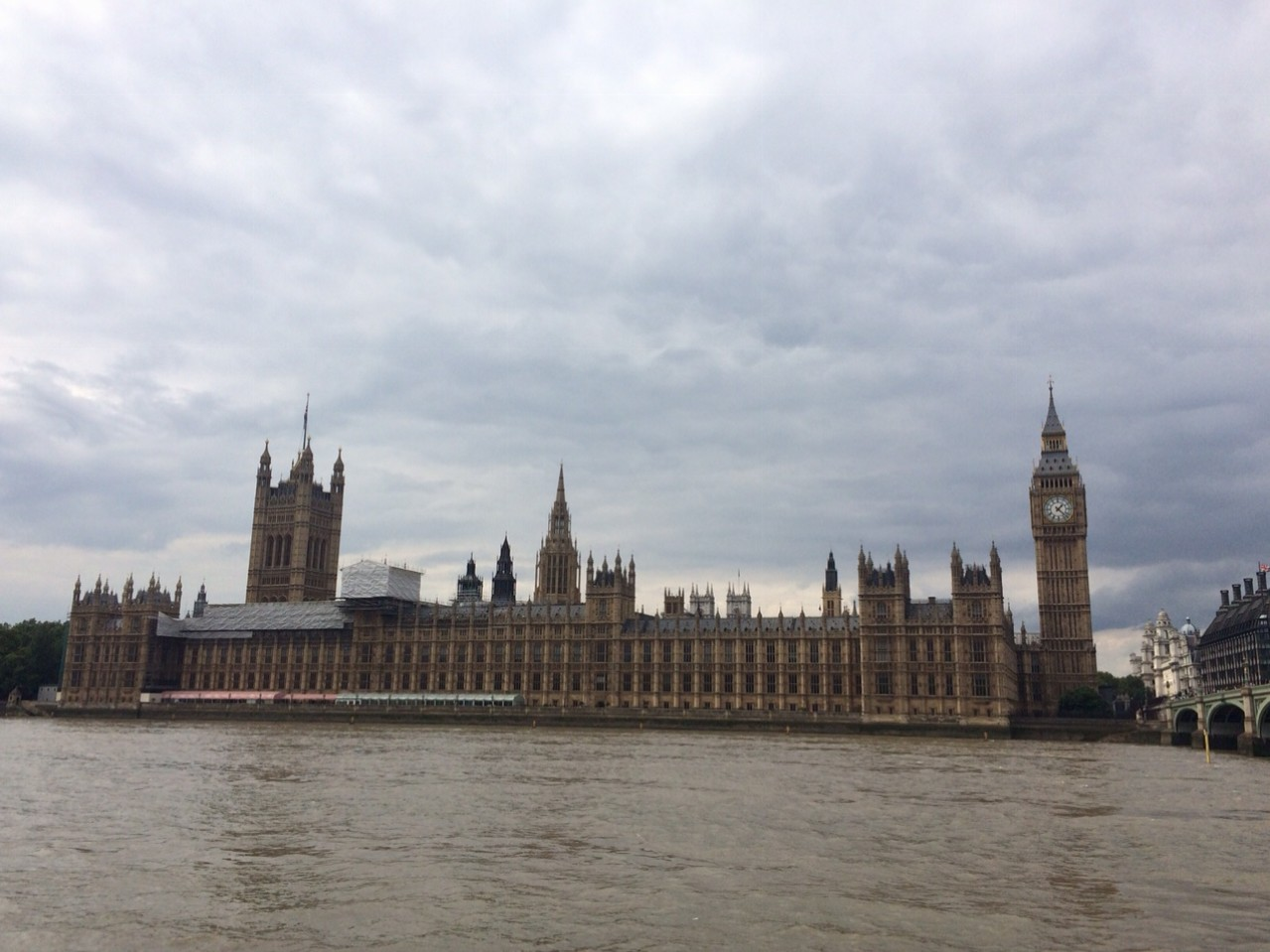 Looking back on Parliment from across the Thames.