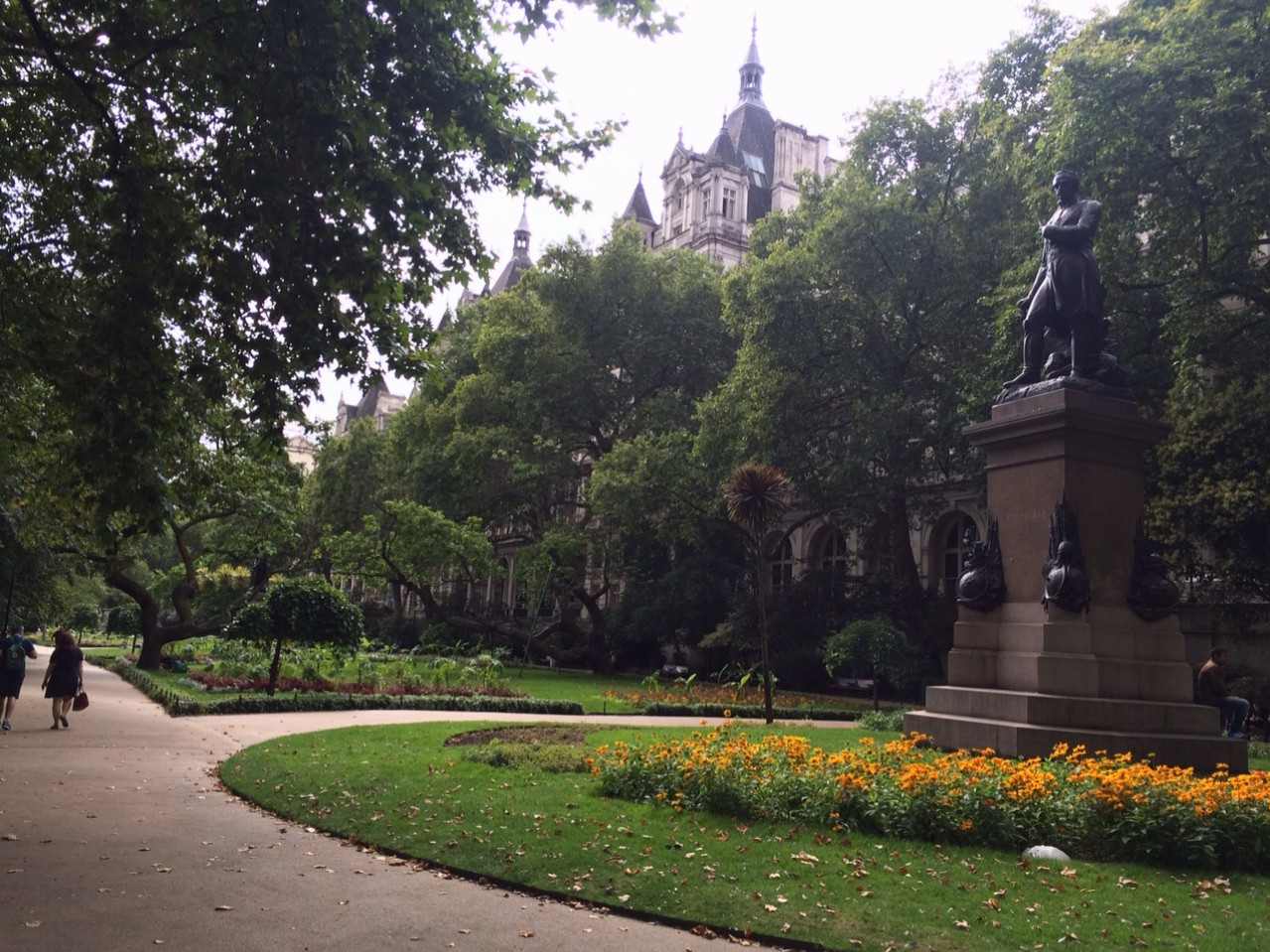 There are over 100 green spaces in London.  This is Whitehall Gardens.