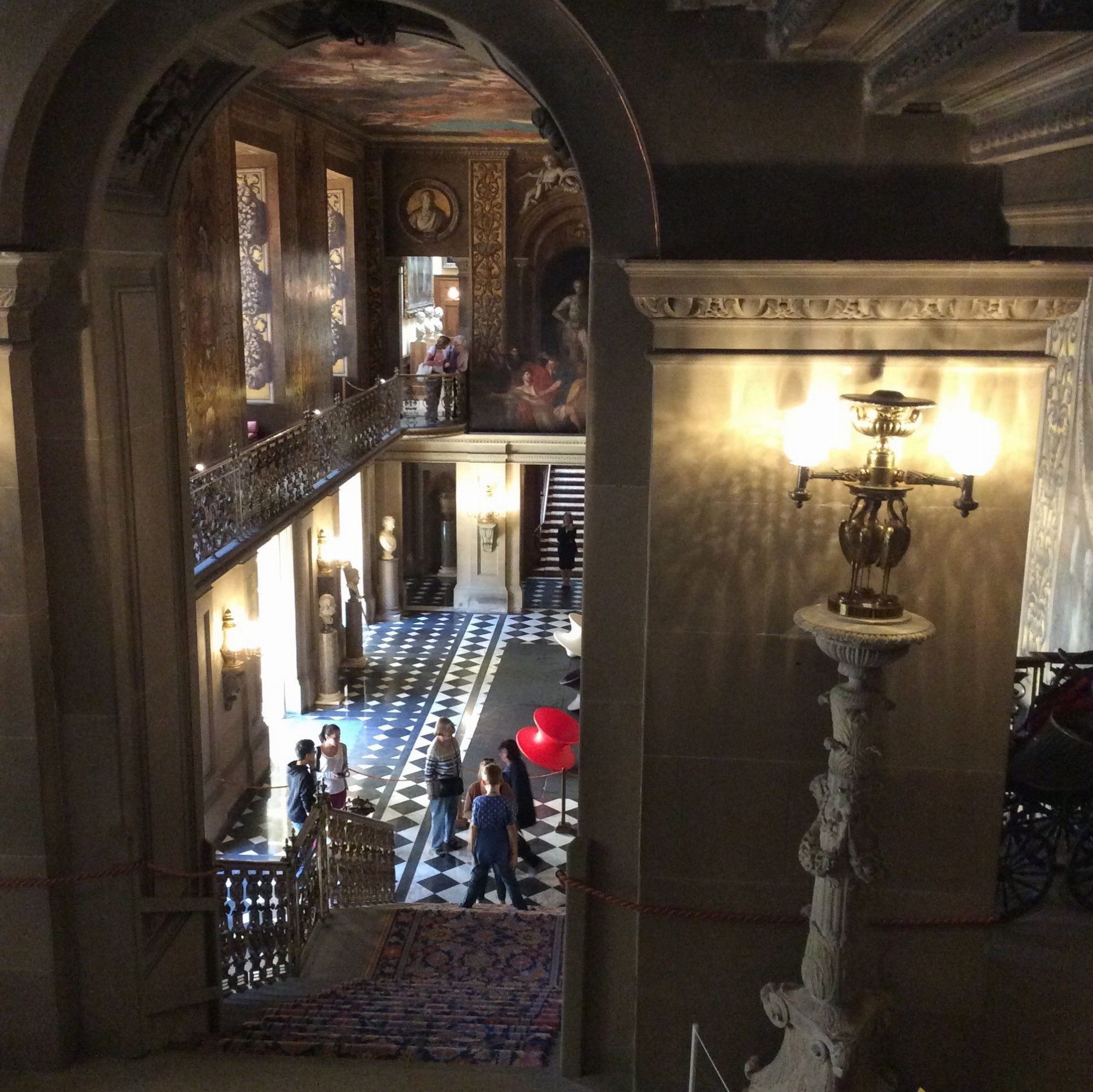 Looking down from the staircase and across to another.