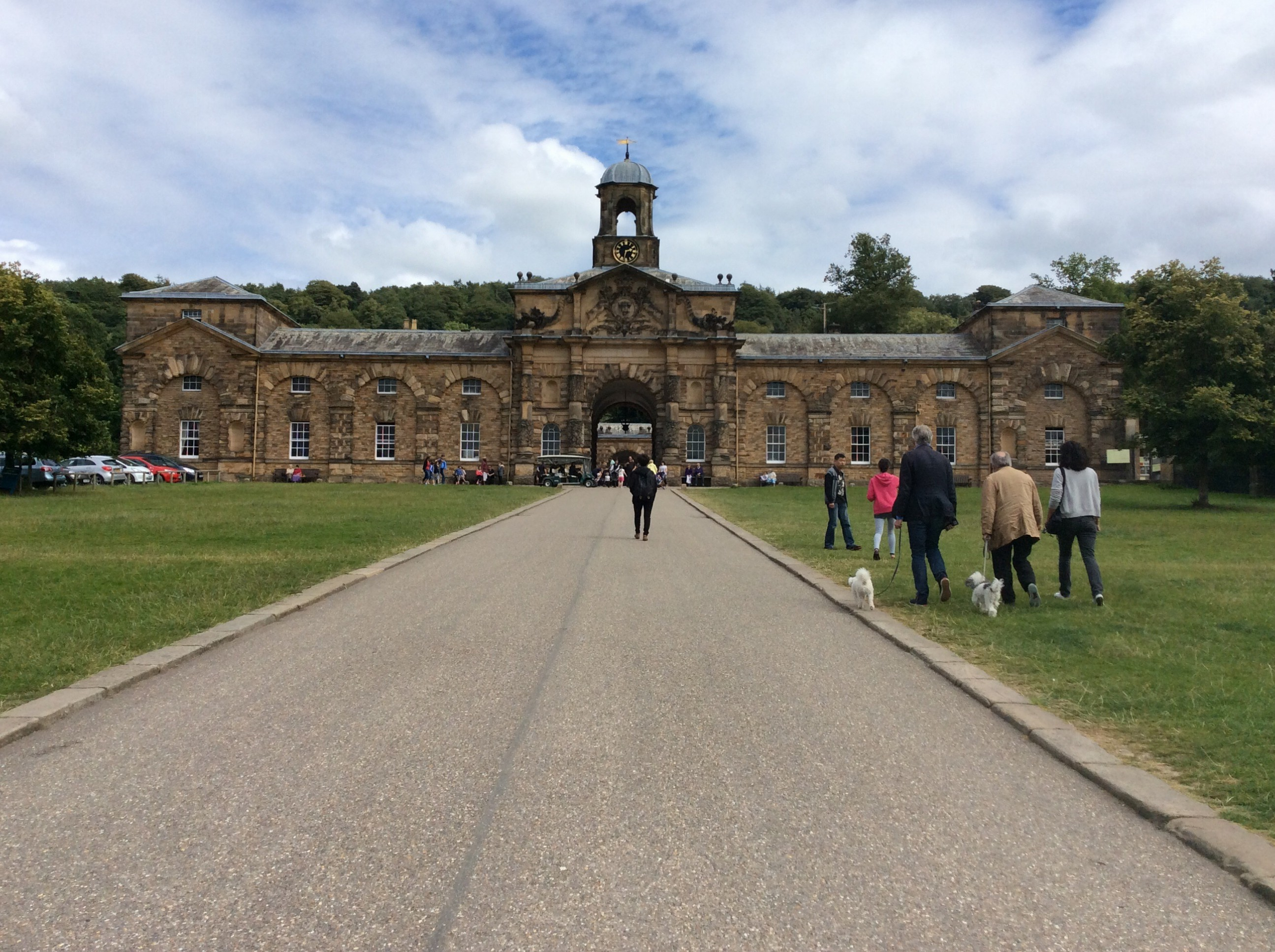 Walking toward the Chatsworth stables.  Tim, Jim, Sadie and mutts on right.